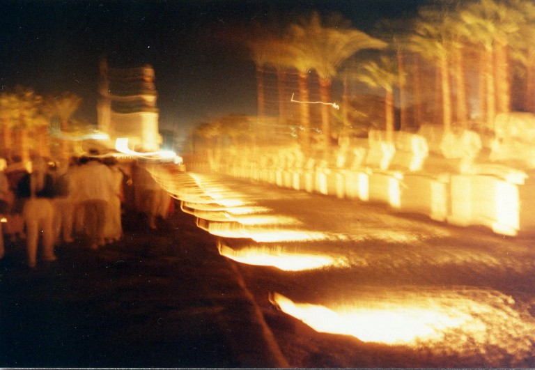 Our procession along the Avenue of the Sphinxes.