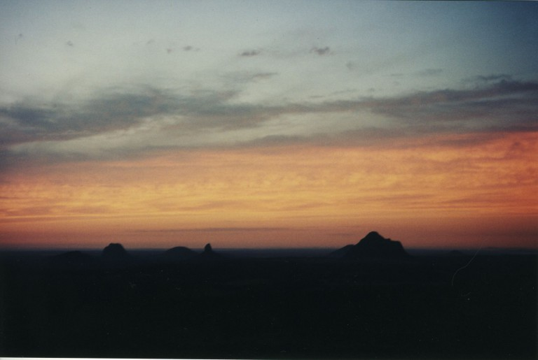 Sunset over the Glasshouse Mountains.