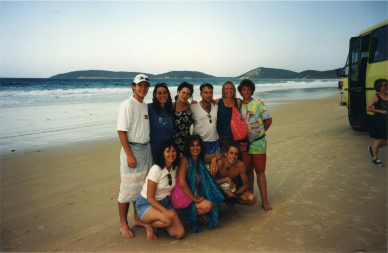 On the beach at Noosa Head with Ben, Sara, Nova, Kalim, Laya, another Ben, Solara Itara, Solara and Nion.