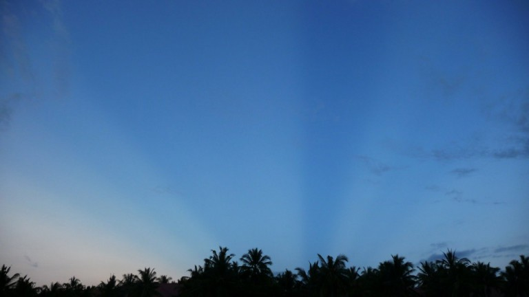 These are the very auspicious Blue Beams that appeared in the sky over our hotel during our Inspection Trip in May 2010. We were returning from a visit to the Tanah Lot Temple where we had asked its permission to hold our Master Cylinder here. And this is the answer we received!