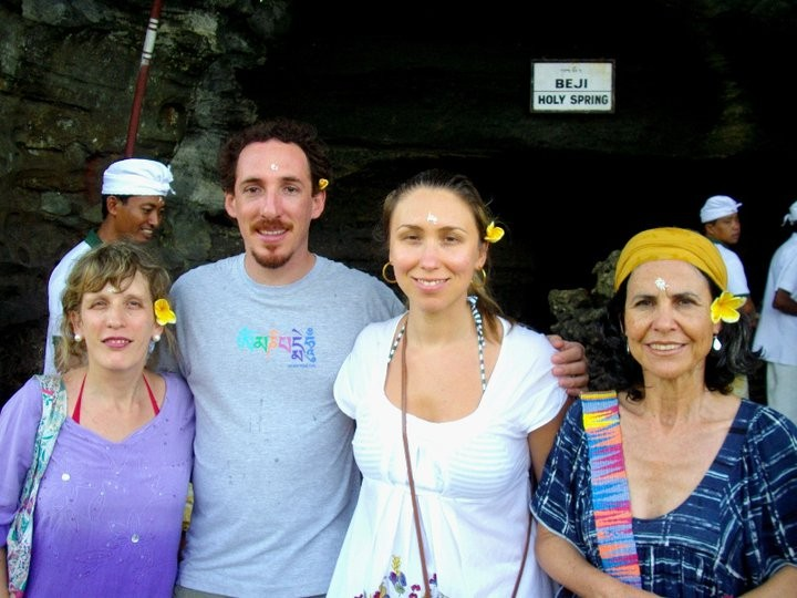 Here are Cris, Felipe, Viviane and Eliane from Brazil at the Holy Spring.
