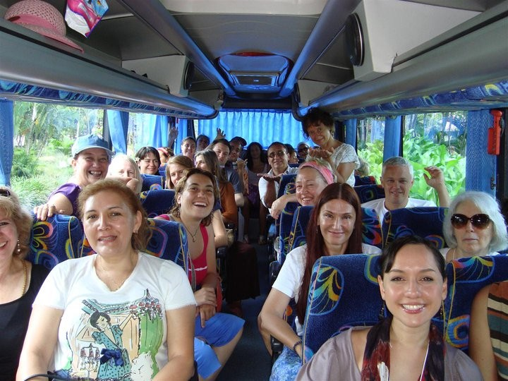 During the week, we enjoyed a visit to the fascinating town of Ubud, which is a center of Balinese traditions and art.    There was much excitement on the buses.