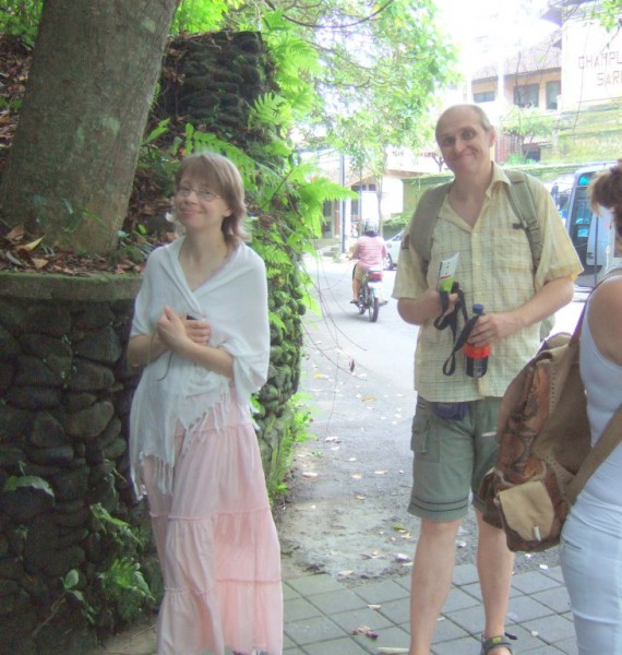 Natalia and Sergey stroll the streets of Ubud.