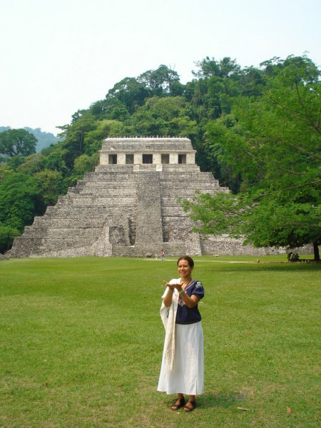 In May 2011, Keenuane and Solara visited Palenque to prepare for the Tenth Gate Activation.   Here is Keenuane in front of the Temple of the Inscriptions.