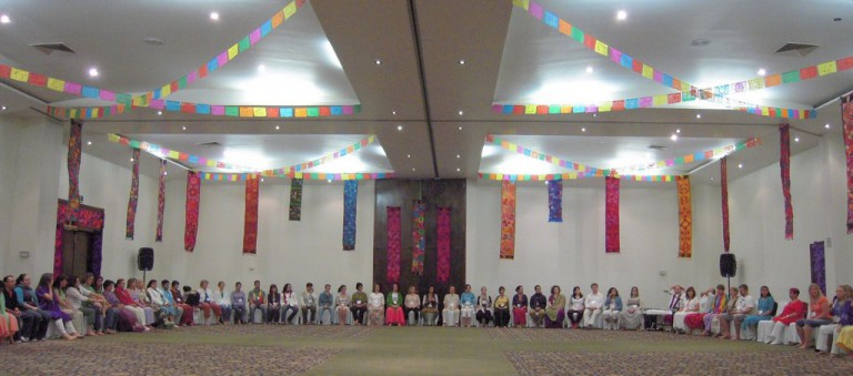 Here's our huge Conference Room decorated with Mexican paper flags and embroidered banners from Chiapas.