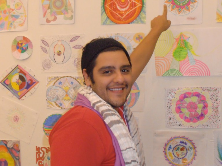 An Xahel proudly points to his mandala.