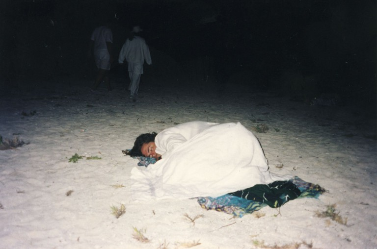 A short nap in the sand during the long night.