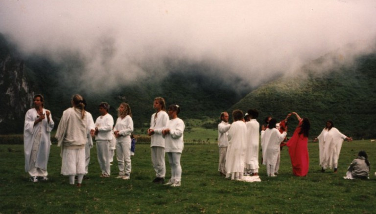 As it became increasingly misty, we formed Gateways of Initiation.  Each Gate had a Gatekeeper.    The four people at the front represented the Doorway of the 11:11,  then two people formed the First Gate and two formed the Second Gate.    All that was required was to do the mudra for First and Second Gate in order to pass through.  And yet, so many people were turned back and had to try again and again.    Finally.... after what seemed like hours, everyone had passed through,  and the Gates turned themselves inside out and ceased to exist.
