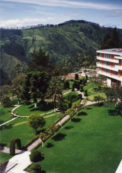 The gorgeous gardens and spectacular views of the Hotel Quito  where our Master Cylinder Preparations took place.