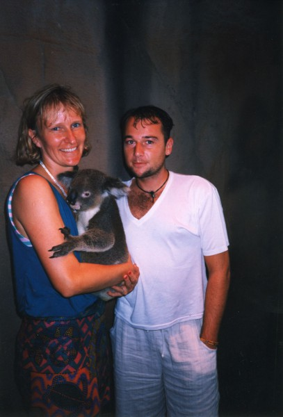 Laya and Kalim with a koala friend.
