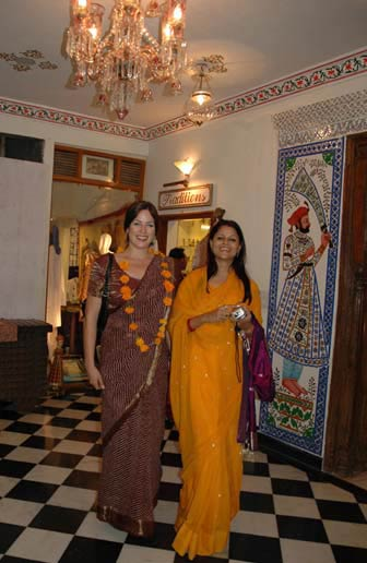 Nova and Daisy go to dinner in beautiful saris.