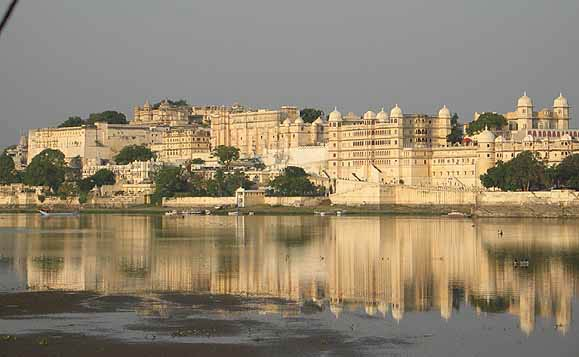 The stunning view of Udaipur across the lake from Jagmandir Palace.