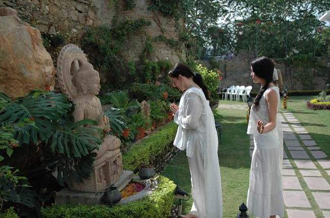 An*Nu*Tuk and Elenra honor the Buddha in our hotel garden before leaving for the Activation Ceremony