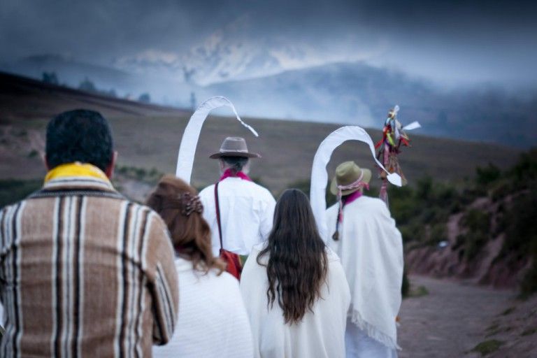 Emanáku and Solara, followed by Elena and Susan embodying the White Dragons,   lead the procession to our sacred site.