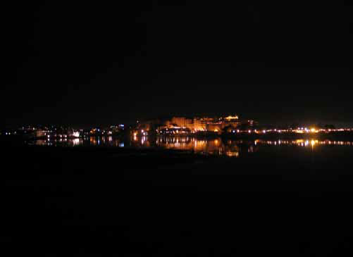 Night view of Udaipur across the lake