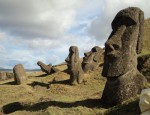 There are hundreds of unfinished Moai here.