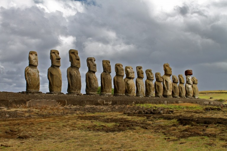 The magnificent Moai of Tongariki await our arrival.