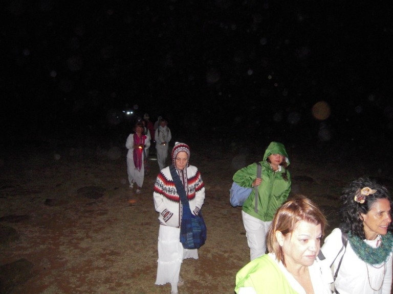 We made our way down the hill to the Moai in total darkness, lit only by flashlights.