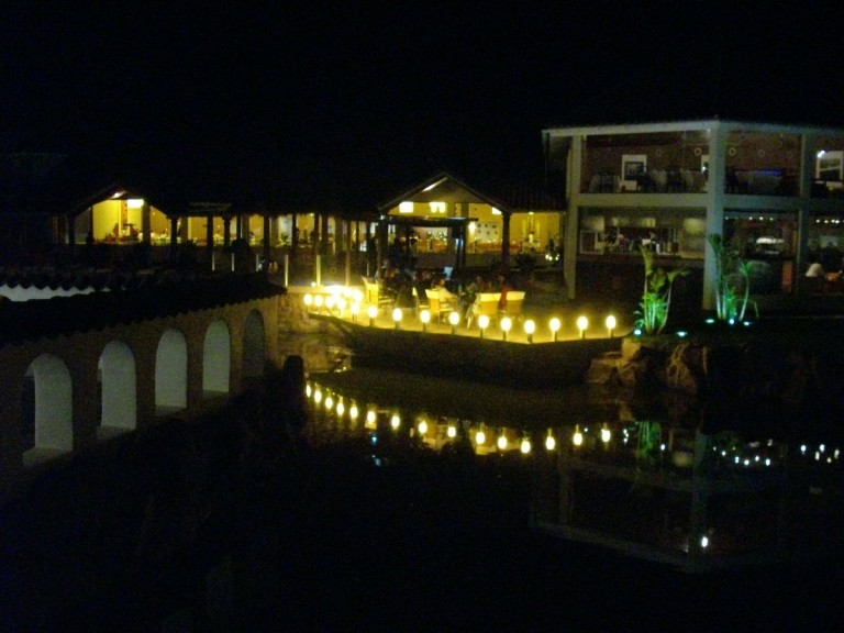 The restaurant / bar area by night.