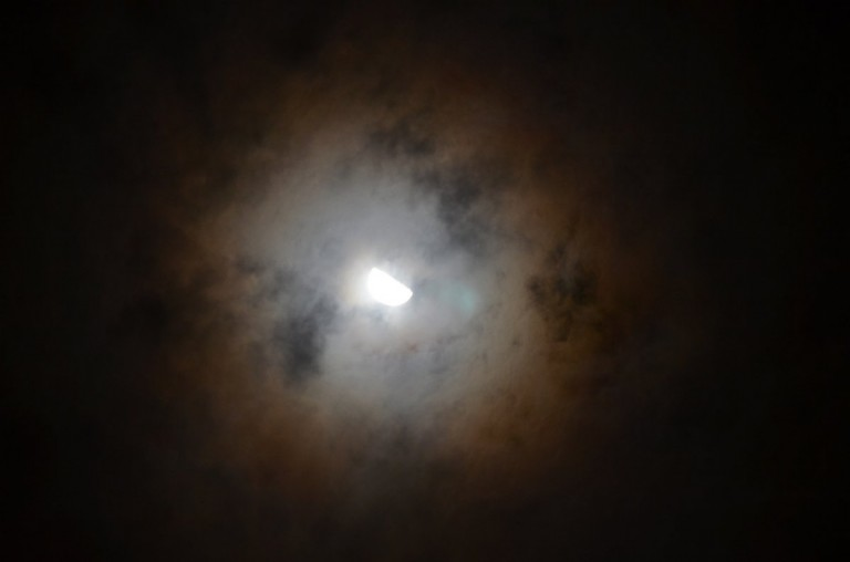 And at night, a glorious halo around the Moon.