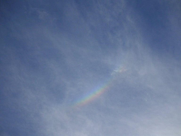 A rainbow appeared in the sky directly above us.